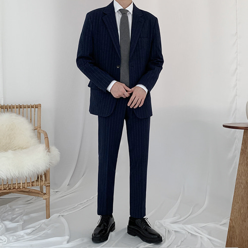 Stripe Wool Suit (Navy)