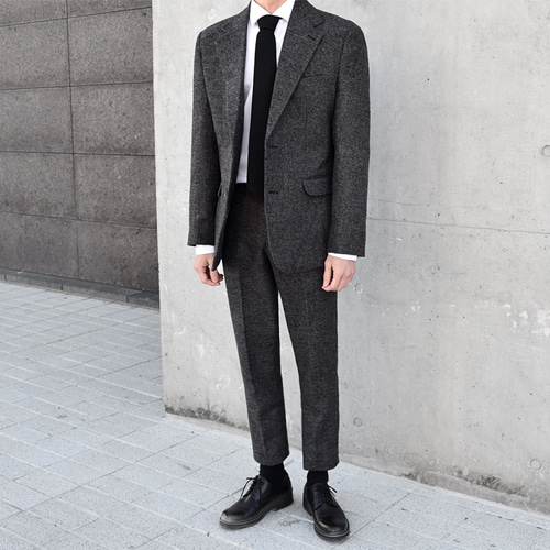 Wool Herringbone Suit (Charcoal)